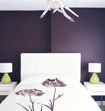 The brown has hints of purple and makes for a rich accent wall color